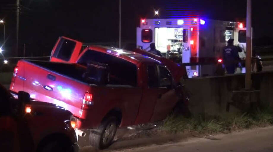 A driver dozed off and veered off the road on South Post Oak overnight. Photo: Metro Video