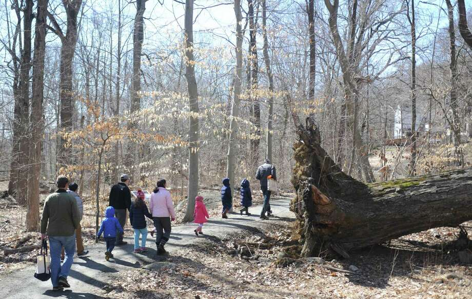 A group walks through the woods during the Members' Pancake Breakfast and Pond Hike at Audubon Greenwich in Greenwich, Conn. Sunday, April 8, 2018. Audubon members new and old celebrated the start of spring with a pancake breakfast cooked by members of the Teen Board, music, crafts, and an ecology hike through the woods. Photo: Tyler Sizemore / Hearst Connecticut Media / Greenwich Time