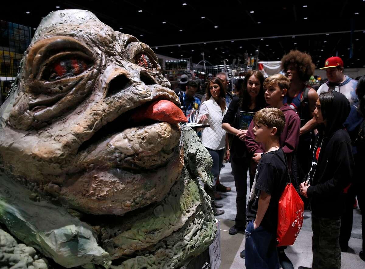 Jabba the Hut draws a crowd at the Silicon Valley Comic Con in San Jose, Calif. on Saturday, April 7, 2018.