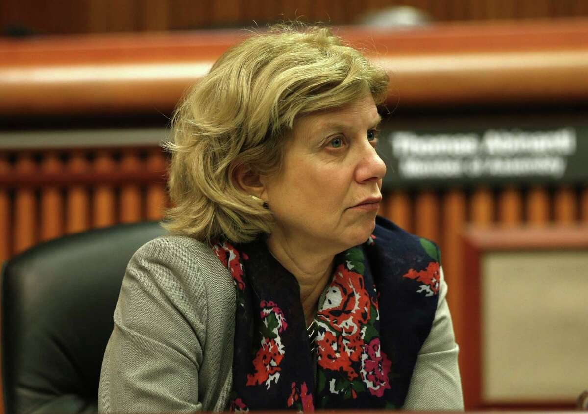 Assemblymember Shelley Mayer, D-Yonkers, on Monday, Feb. 3, 2014, in Albany, N.Y. (AP Photo/Mike Groll)