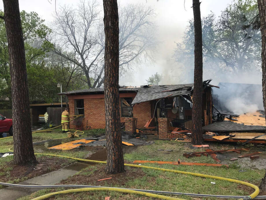 The Hurst Fire Department responded to a structure fire Sunday, April 8. A vehicle crashed into the house, hit a gas line and cause an explosion, according to fire fighters. Photo: Hurst Fire Department @HurstFireDept