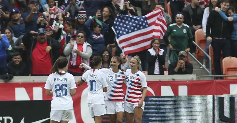 U.S. Women's Soccer forward Alex Morgan (13) celebrates her goal during the second half of a International Friendly match against Mexico at BBVA Campus Stadium on Sunday, April 8, 2018, in Houston. The U.S.A. defeated the Mexico 6-2. ( Yi-Chin Lee / Houston Chronicle ) Photo: Yi-Chin Lee/Houston Chronicle