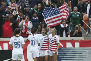 U.S. Women's Soccer forward Alex Morgan (13) celebrates her goal during the second half of a International Friendly match against Mexico at BBVA Campus Stadium on Sunday, April 8, 2018, in Houston. The U.S.A. defeated the Mexico 6-2. ( Yi-Chin Lee / Houston Chronicle )