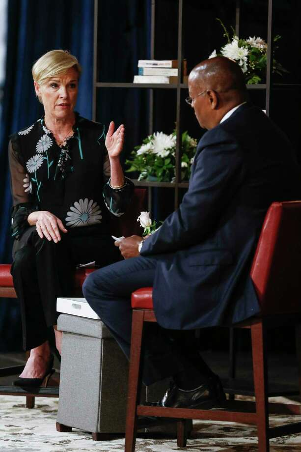 "President of Planned Parenthood Cecile Richards, left, talks about her new book, ""Make Trouble: Standing Up, Speaking Out, and Finding the Courage to Lead - My Life Story"" with Commissioner Rodney Ellis at a Brazos Bookstore event Sunday, April 8, 2018 in Houston. Photo: Michael Ciaglo, Houston Chronicle / Michael Ciaglo"