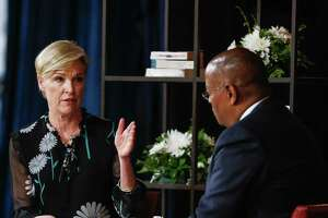 "President of Planned Parenthood Cecile Richards, left, talks about her new book, ""Make Trouble: Standing Up, Speaking Out, and Finding the Courage to Lead - My Life Story"" with Commissioner Rodney Ellis at a Brazos Bookstore event Sunday, April 8, 2018 in Houston."