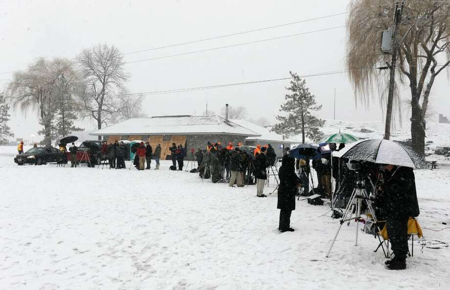 Media outlets line up Monday morning for the demolition of the Champlain Bridge in Crown Point.   (Skip Dickstein / Times Union) Photo: SKIP DICKSTEIN / 2008