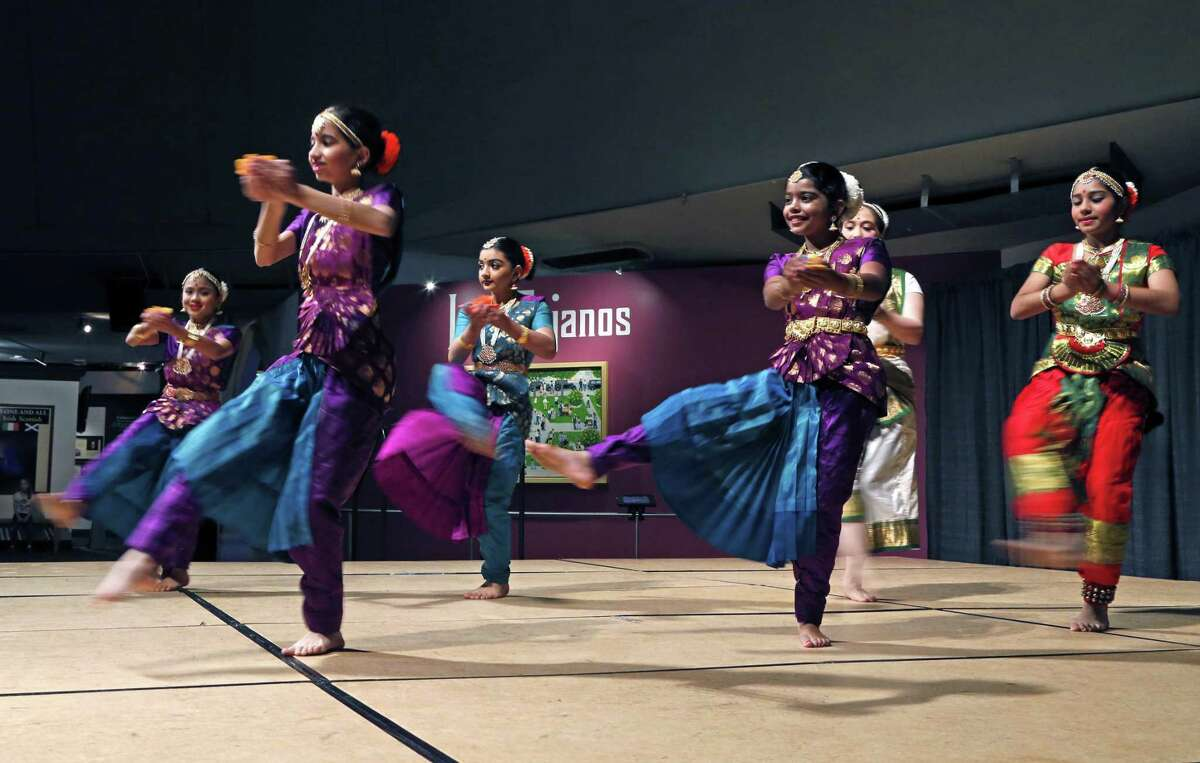 Students from Arathi School of Indian Dance perform at the Institute of Texan Cultures. Hemisfair is celebrating its 50th anniversary with a weekend Tricentennial event of music performances and art exhibitions. On Sunday, the Mexican Cultural Institute will have a
