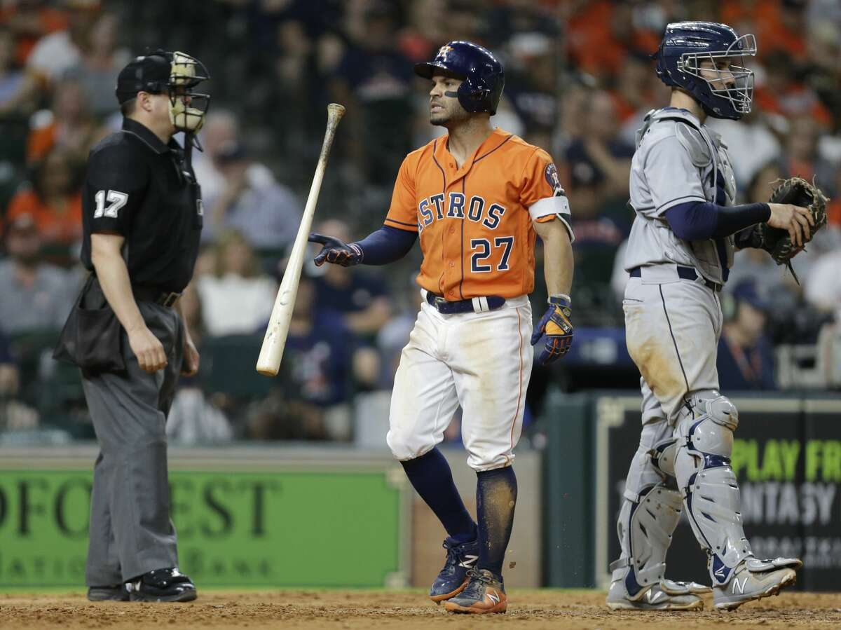 Houston Astros Jose Altuve flips his bat after being called out on strikes during the eighth inning against the San Diego Padres at Minute Maid Park Friday, April 6, 2018, in Houston. ( Melissa Phillip / Houston Chronicle )