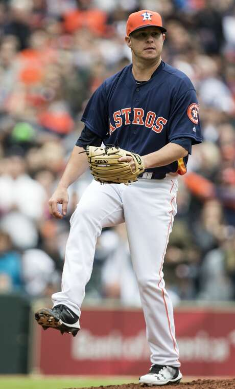Houston Astros relief pitcher Brad Peacock reacts after striking out San Diego Padres center fielder Manuel Margot for his first regular season major league save during the ninth inning at Minute Maid Park on Sunday, April 8, 2018, in Houston. The Astros beat the Padres 4-1, to take the series 2-1. ( Brett Coomer / Houston Chronicle ) Photo: Brett Coomer/Houston Chronicle