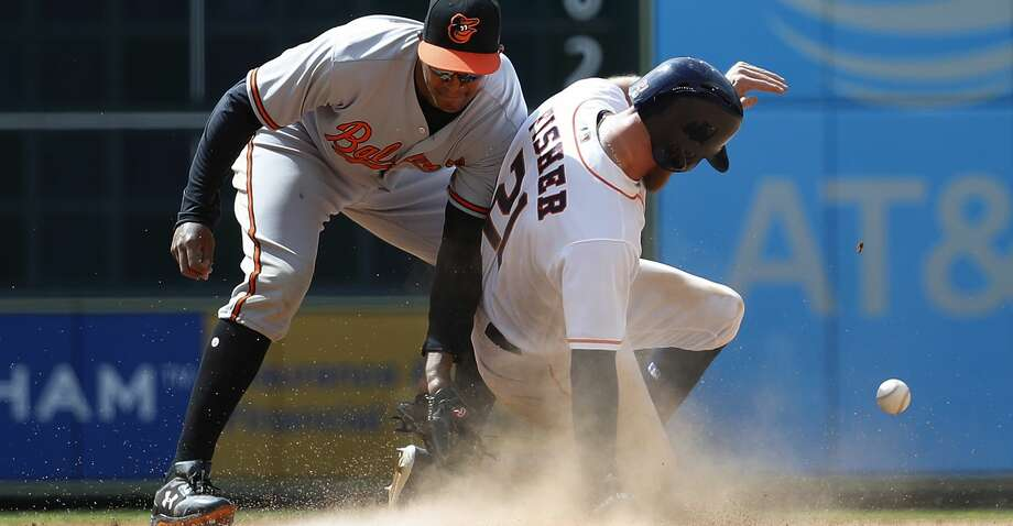 PHOTOS: Astros 4, Padres 1Houston Astros Derek Fisher (21) steals second base from Baltimore Orioles second baseman Jonathan Schoop (6) during the seventh inning of an MLB baseball game at Minute Maid Park, Wednesday, April 4, 2018, in Houston.   ( Karen Warren / Houston Chronicle )Browse through the photos to see action from the Astros' win over San Deigo on Sunday. Photo: Karen Warren/Houston Chronicle