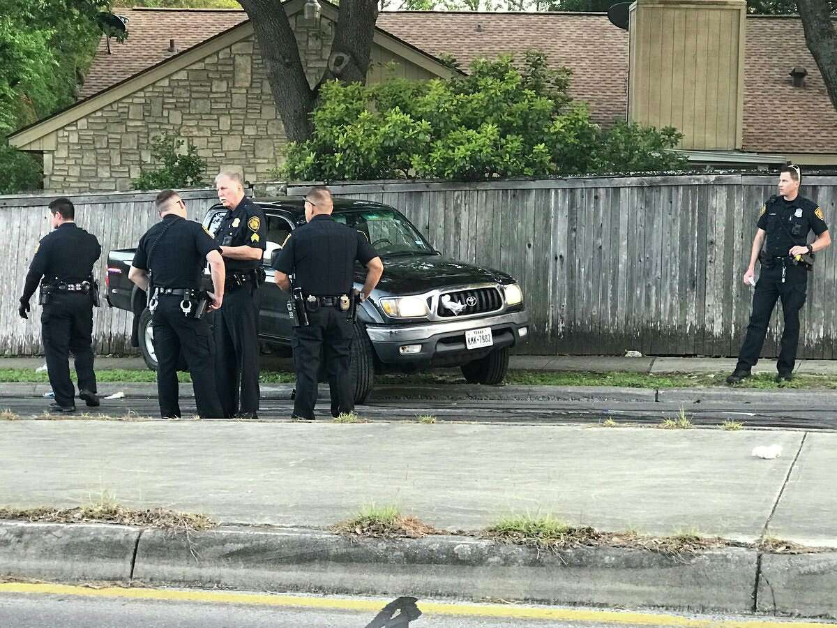 A man was taken to an area hospital Sunday evening, April 8, 2018, after losing control of his pickup truck and rolling over, San Antonio police say. Witnesses to the accident assisted in pulling the truck off the man.