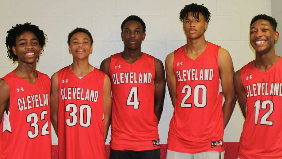 Five members of the Cleveland Varsity Boys Basketball Team were named to the All-District team. The honorees are A.J. Wheeler, honorable mention; Jevarrick Butler, Newcomer of the Year; T.J. Waller, 2nd Team All-District; Chance Brown, Co-Offensive MVP and All-Region Team Selection; and Mario Greyson, 2nd Team All-District. Photo: Submitted