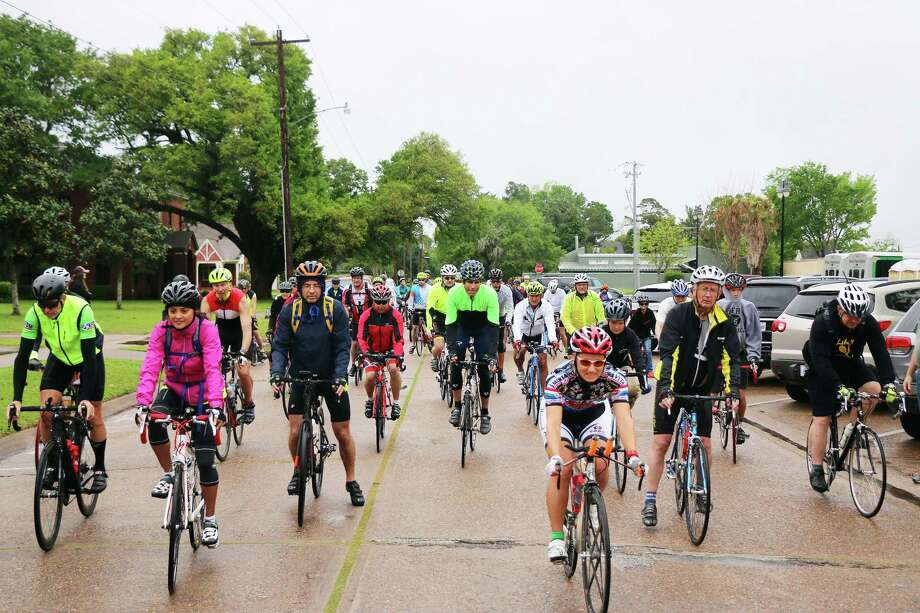 And they're off! Bikers pull out from the starting point in downtown Liberty behind city hall. Ninety-three riders participated in the event despite the inclement weather. Photo: David Taylor