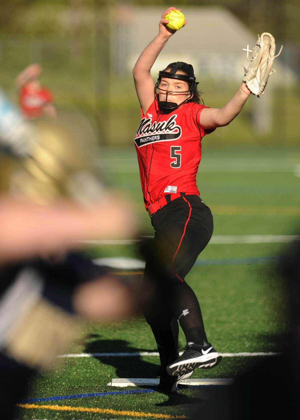 Masuk junior pitcher Sam Schiebe started a state championship game as a freshman and won a SWC title as a sophomore.