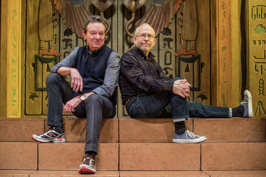 "Writer Lawrence Wright and director Bob Balaban pose for a portrait on the set of their play ""Cleo"" on the stage of the Alley Theater Thursday April 5, 2018. (Michael Starghill, Jr.) Photo: Michael Starghill Jr., Photographer / Michael Starghill, Jr. / © Michael Starghill, Jr."