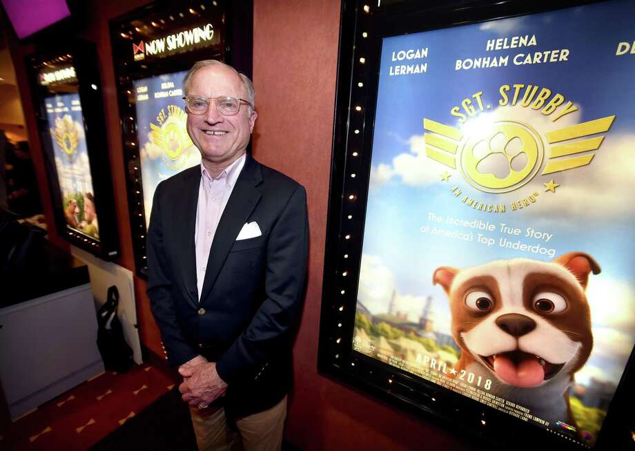 Curt Deane of Lyme, Connecticut, attended the Bow Tie Criterion Cinemas advanced screening of Sgt. Stubby: An American Hero in New Haven on April 8, 2018.  Deane is the grandson of J. Robert Conroy, a soldier in the 102nd Infantry Regiment and the companion to Stubby. Photo: Arnold Gold / Hearst Connecticut Media / New Haven Register
