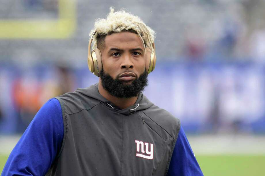 File-This Oct. 8, 2017, file photo shows New York Giants wide receiver Odell Beckham warming up prior to an NFL football game against the Los Angeles Chargers in East Rutherford, N.J.  New York Giants owner John Mara says the team does not have Odell Beckham Jr., on the trading block, then stopped short Sunday of saying the controversial star receiver is an untouchable. (AP Photo/Bill Kostroun, File) Photo: Bill Kostroun, Associated Press / FR51951 AP