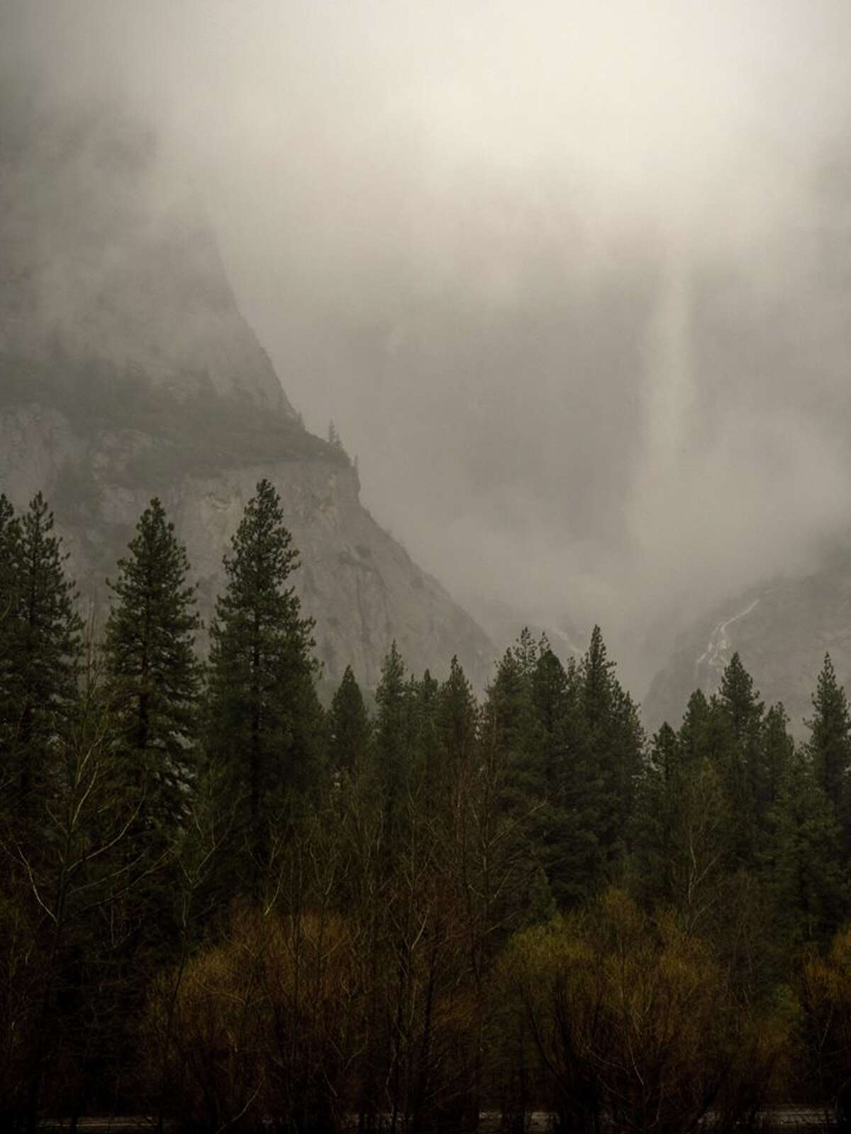 Upper Yosemite Fall roaring during an atmospheric river event on April 7, 2018