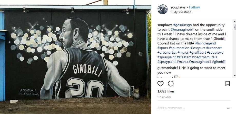 "souplaws: ""#gospursgo had the opportunity to paint @manuginobili on the south side this week "" I have dreams inside of me and I have a chance to make them true ""-Ginobili Coolest kat on the NBA #livinglegend"" Photo: Instagram.com"