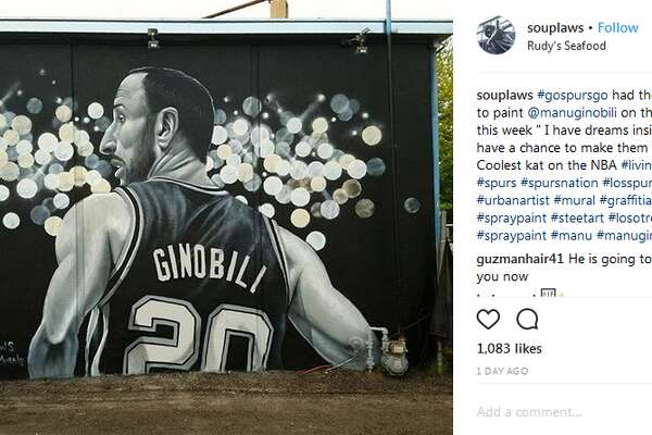 "souplaws: ""#gospursgo had the opportunity to paint @manuginobili on the south side this week "" I have dreams inside of me and I have a chance to make them true ""-Ginobili Coolest kat on the NBA #livinglegend"""