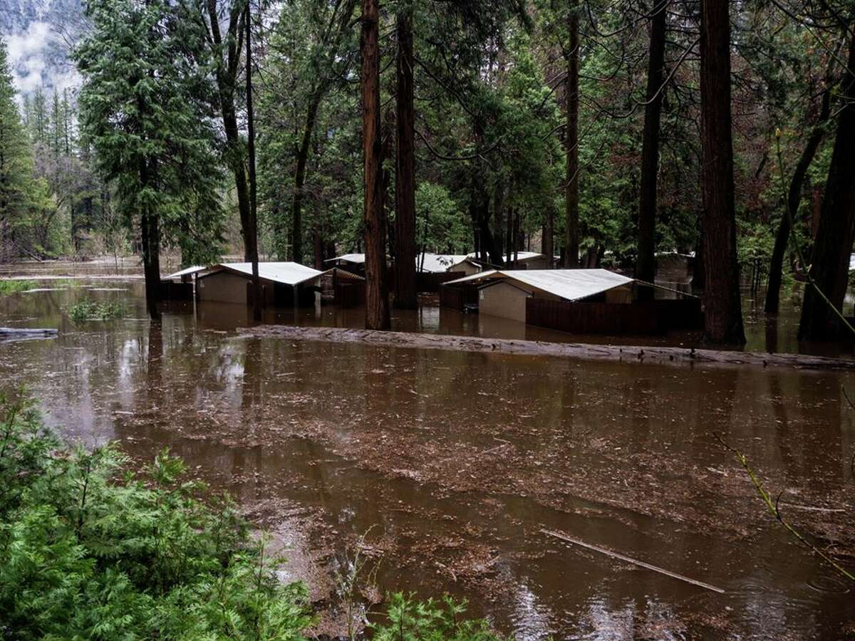 Housekeeping Camp in Yosemite National Park during an atmospheric river event on April 7, 2018