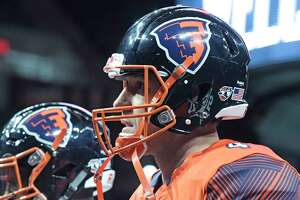Quarterback, Tommy Grady models one of the uniforms the team will wear during the season, during media day for the Albany Empire, a new Arena Football League team, on Monday, April 9, 2018, at the Times Union Center, in Albany, N.Y. (Paul Buckowski/Times Union)
