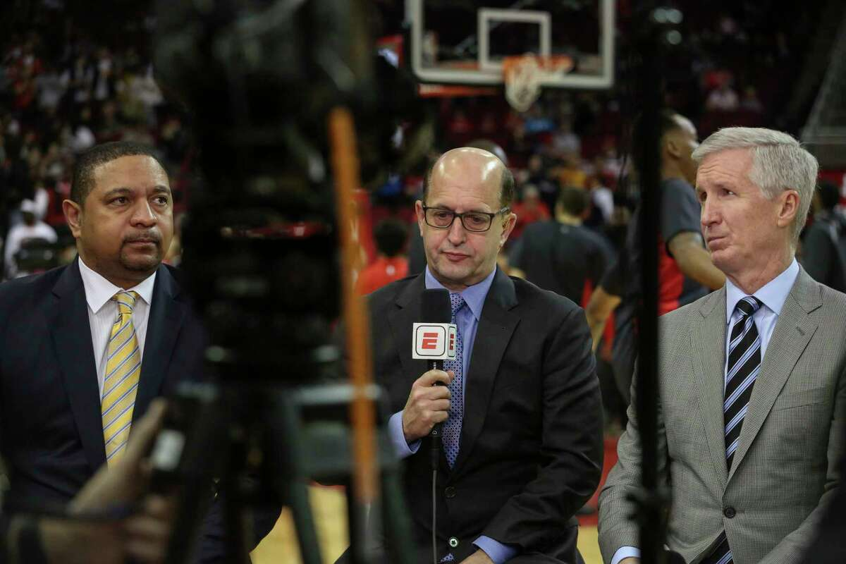 ESPN's top team of (from left), Mark Jackson, Jeff Van Gundy and Mike Breen will call the Rockets-Lakers game Saturday night on ABC.