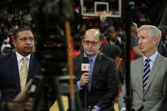 Former Golden State Warriors Mark Jackson, from left, former Houston Rockets coach Jeff Van Gundy and sports commentator Mike Breen get ready for the broadcast of the Houston Rockets last regular home game against Oklahoma City Thunder at Toyota Center on Saturday, April 7, 2018, in Houston.