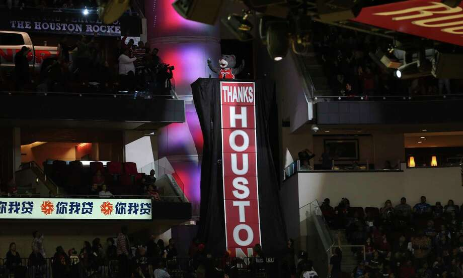Rockets mascot Clutch surprises the fans by rising on a stand expressing gratitude for their support during the regular season. Photo: Yi-Chin Lee / © 2018 Houston Chronicle