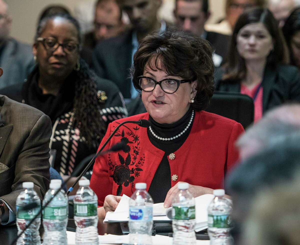 Commissioner of Education MaryEllen Elia addresses the monthly Board of Regents meeting on Monday April 9, 2018, at the State Education Building in Albany, N.Y. (Skip Dickstein/Times Union)