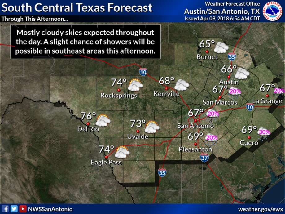 Following a cold, grey weekend and a wet Monday, skies are expected to clear and temperatures are expected to rise throughout the week in the San Antonio area. Photo: National Weather Service