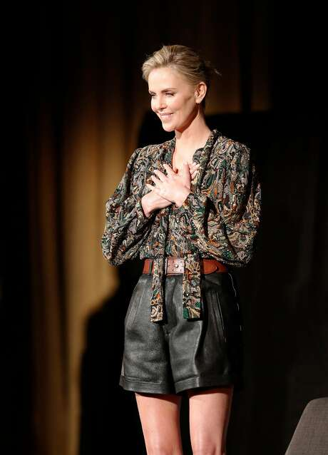 ActressCharlize Theron reacts to the crowd's applause on stage before a question and answer during a tribute to her work as part of the San Francisco Film Festival at the Castro Theater in San Francisco., Calif., on Sunday, April 8, 2018.  The tribute followed the showing of the film Tully directed by Jason Reitman Photo: Carlos Avila Gonzalez / The Chronicle