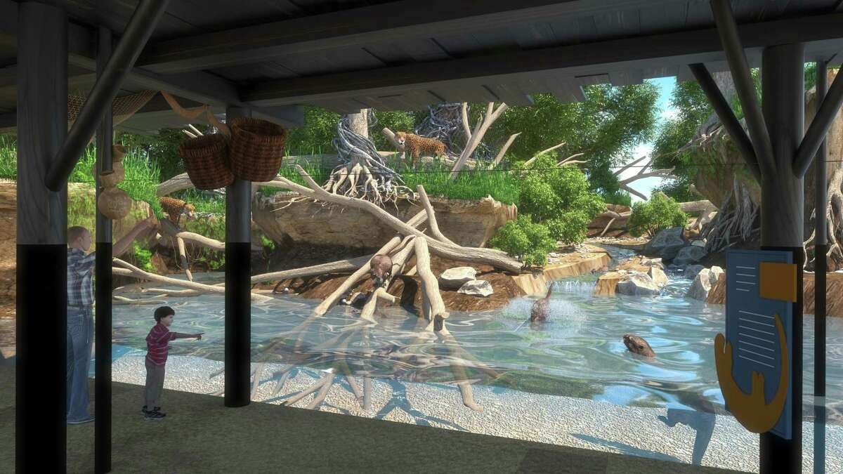 A rendering of the Pantanal otter and jaguar exhibit.