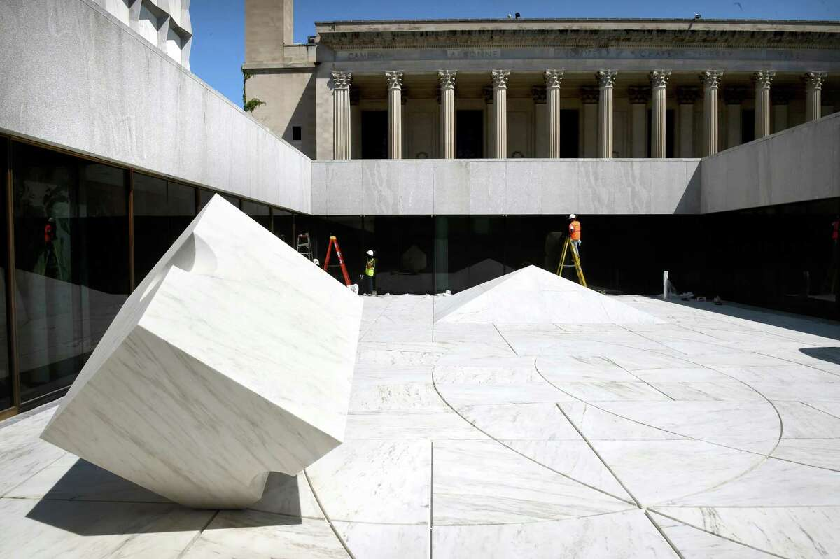 (Arnold Gold-New Haven Register) The Noguchi Sculpture Garden in a sunken courtyard of the Beinecke Rare Book & Manuscript Library at Yale University in New Haven is near completion of a renovation on 8/24/2016.