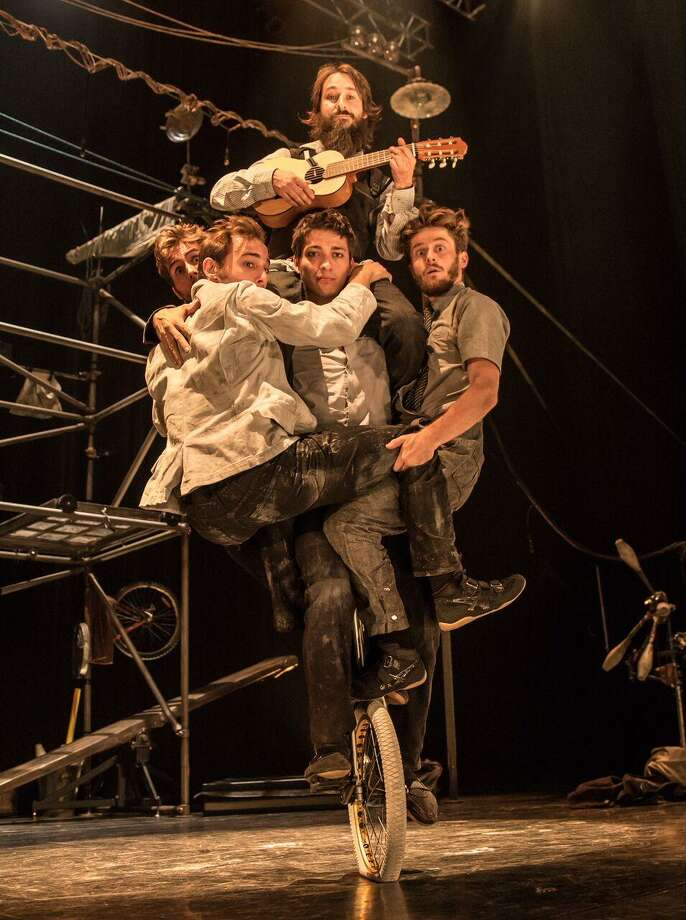 The five members of Machine de Cirque, of Quebec City, balance on a unicycle. The troupe will be in Fairfield April 20-21. Photo: Loup-William Theberge / Contributed Photo