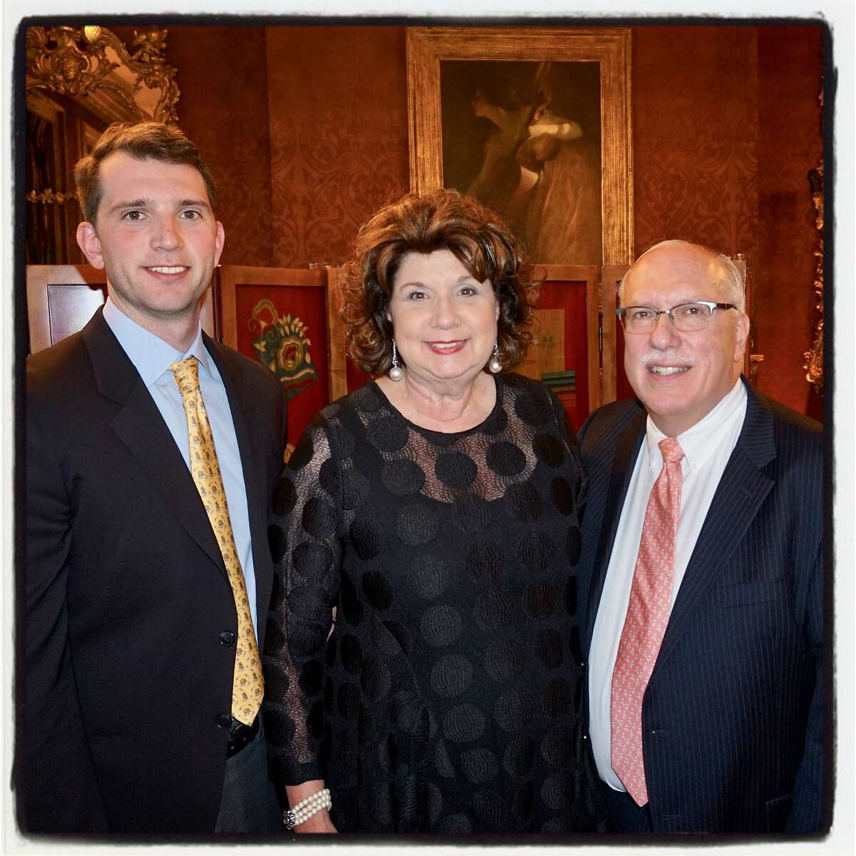 Gordon Glogau (left) with his parents, Pam and Dr. Richard Glogau, at the Snuggly Soiree. March 26, 2018.