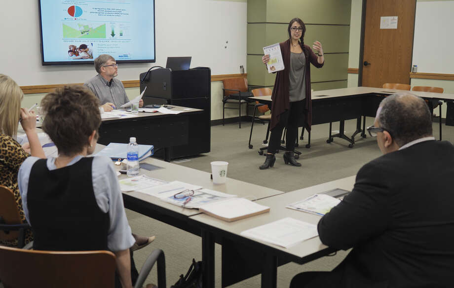 Becca Myers, data manager with Educate Midland, speaks April 4 during a meeting with Early Childhood Action Network members. Photo: Tim Fischer/Reporter-Telegram