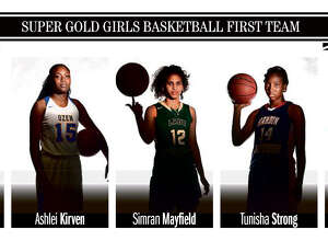The 2018 Beaumont Enterprise Super Gold Girls Basketball First Team, presented by Mid County Chrysler Dodge Jeep Ram and Fiat. (Guiseppe Barranco/The Enterprise)