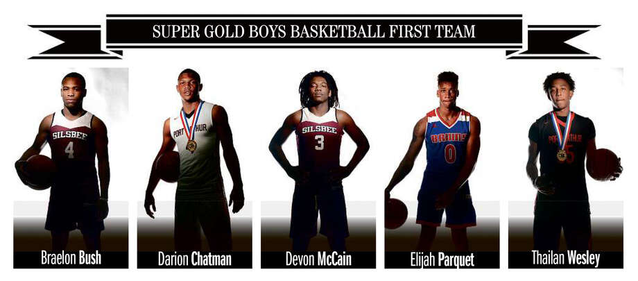 The 2018 Beaumont Enterprise Super Gold Boys Basketball First Team, presented by Mid County Chrysler Dodge Jeep Ram and Fiat. (Guiseppe Barranco/The Enterprise)