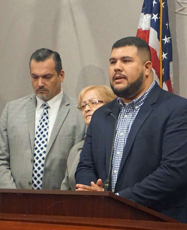State Rep. Chris Rosario, D-Bridgeport, (right) joined Rep. Juan Candelaria, D-New Haven, (left) and Rep. Minnie Gonzalez, D-Hartford, (center) in opposing the appointment of Superior Court Judge Jane Emons of Woodbridge. Photo: Emilie Munson
