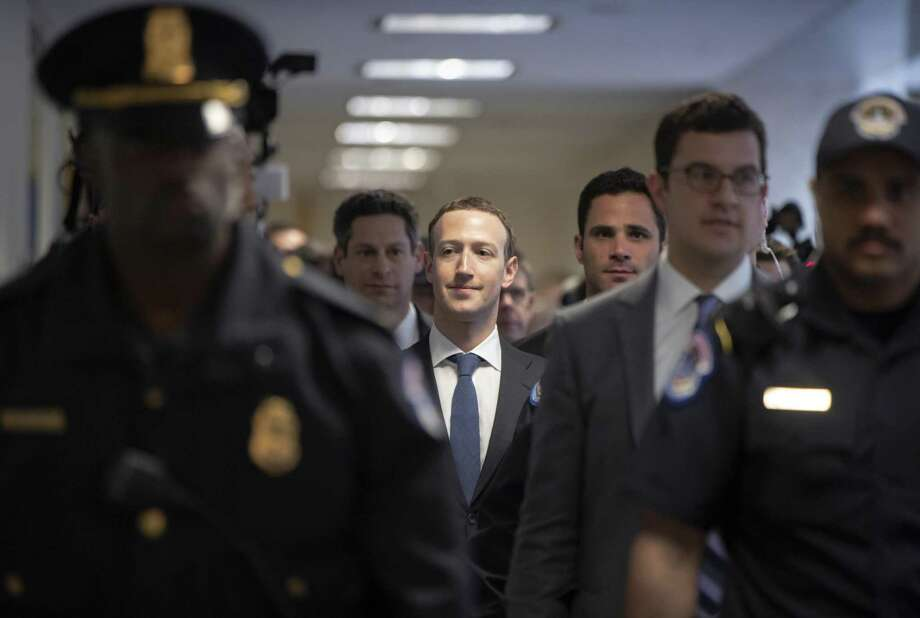 Facebook CEO Mark Zuckerberg arrives on Capitol Hill in Washington, Monday, April 9, 2018, to meet with Sen. Dianne Feinstein, D-Calif., the ranking member of the Senate Judiciary Committee. Zuckerberg will testify Tuesday before a joint hearing of the Commerce and Judiciary Committees about the use of Facebook data to target American voters in the 2016 election. Photo: J. Scott Applewhite /Associated Press / Copyright 2018 The Associated Press. All rights reserved.