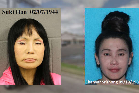Suki Han, 74, left, was arrested on the spot for allegedly operating an unlicensed massage parlor, prostitution and evading arrest. Chanyar Srithong, 33, is currently on the run and wanted on evading arrest and prostitution charges.