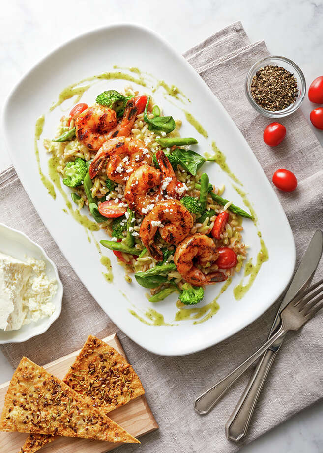 The Shrimp Mediterranean at BRIO's. Spicy grilled shrimp, orzo, farro, broccoli, asparagus, grape tomatoes, spinach, Feta and pesto vinaigrette. The new dish is a part of BRIO's Seafood Celebration from April 3 through June 17.