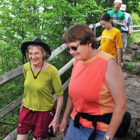 Solfrid Lied of Norway, left, and cousin Astrid Pettersen of Voorheesville enjoy Thacher Park with their families. (John Carl D'Annibale/Times Union) Photo: John Carl D'Annibale / 00008951A