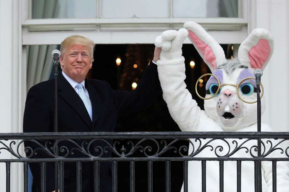 "President Trump joins the Easter Bunny in launching the 140th annual Easter Egg Roll on the South Lawn of the White House. In a less benign activity, the president is lauding the Sinclair Broadcast Group for calling out ""fake news."" Readers take both sides of this issue. Photo: Chip Somodevilla / / 2018 Getty Images"