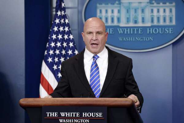 U.S. national security advisor H.R. McMaster answers questions during the daily news conference in the Brady Press Briefing Room at the White House on May 12. On his departure, without mentioning names, he said countries have not acted forcefully enough on Russia's cyber meddling.