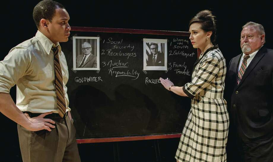 "From left, Clifford Lewis (Brandon Balque), Louise Brown (Rachael Logue), and Bill Bernbach (Rutherford Cravens) in Main Street Theater's ""Daisy."""