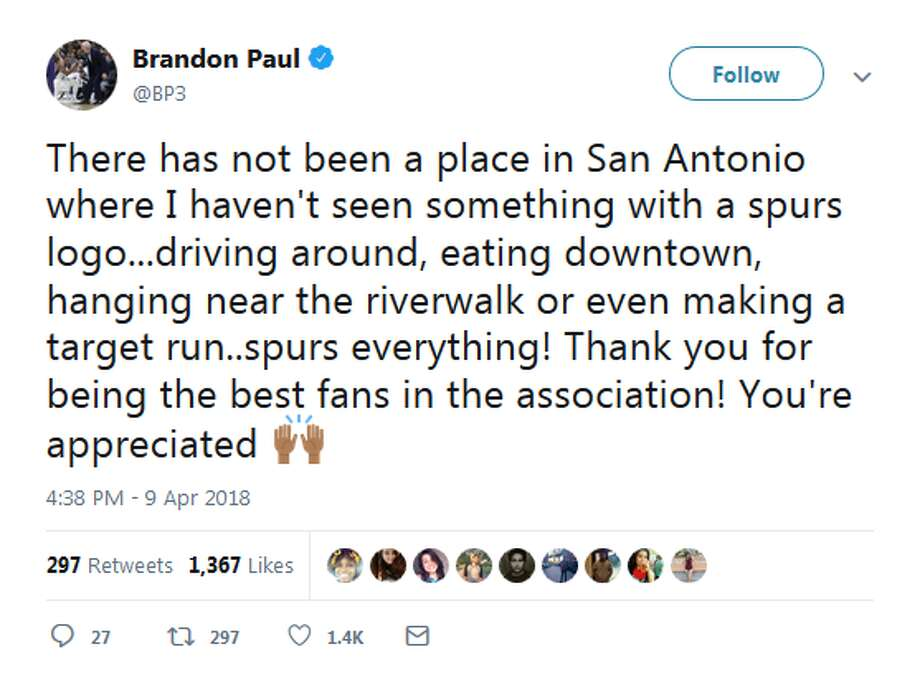 """There has not been a place in San Antonio where I haven't seen something with a spurs logo...driving around, eating downtown, hanging near the riverwalk or even making a target run..spurs everything,"" he tweeted. ""Thank you for being the best fans in the association! You're appreciated."""