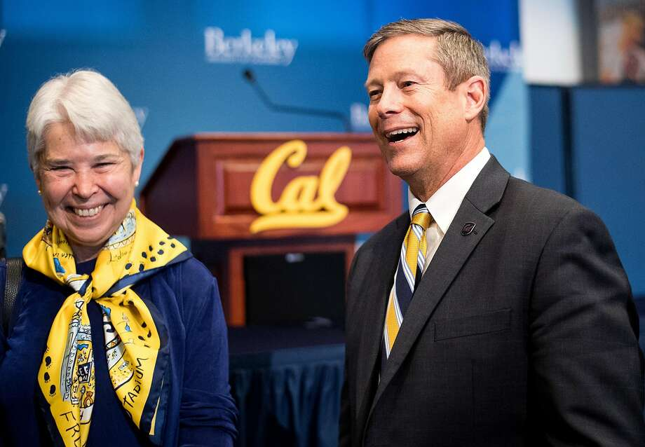 Cal Chancellor Carol Christ and athletic director Jim Knowlton had much to feel good about at Knowlton's introductory news conference Monday, but there's much on the new AD's plate. Photo: Noah Berger / Special To The Chronicle