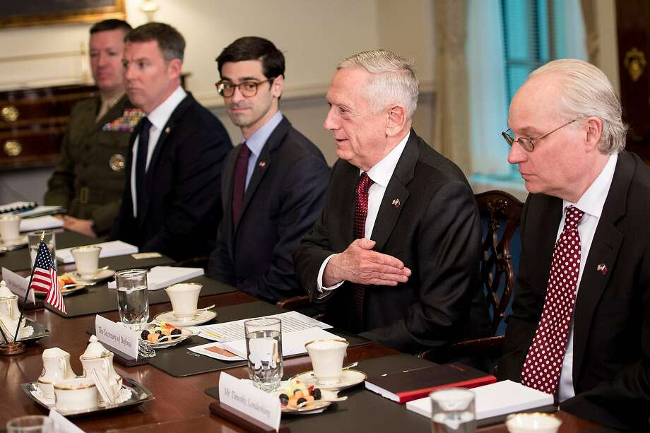US Secretary of Defense James Mattis (2R) speaks before a meeting with Qatar's Emir Sheikh Tamim Bin Hamad Al-Thani at the Pentagon April 9, 2018 in Washington, DC.  Photo: BRENDAN SMIALOWSKI;Brendan Smialowski / AFP / Getty Images